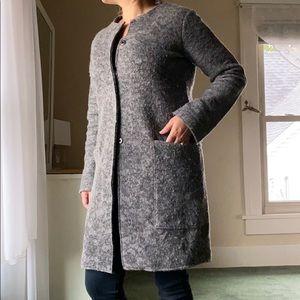 Zara oversized pocket long wool gray coat sweater